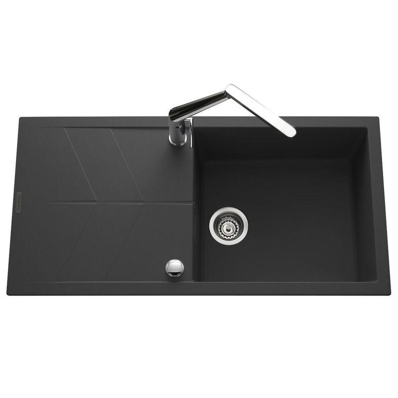 lot evier granit noir 1 grand bac nova mitigeur crbmd063 cuisissimo. Black Bedroom Furniture Sets. Home Design Ideas