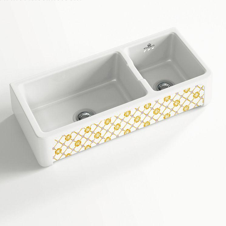Évier céramique à poser KATE 1 bac 1/2 blanc et jaune Provence (997 x470 x220 mm)