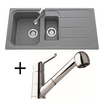 Lot Evier granit gris 1 bac 1/2 OGLIO + Robinet CRBMD027