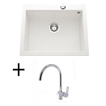 Lot Evier granit blanc 570x500 Luisina QUADRILLE + Mitigeur CRBMI071