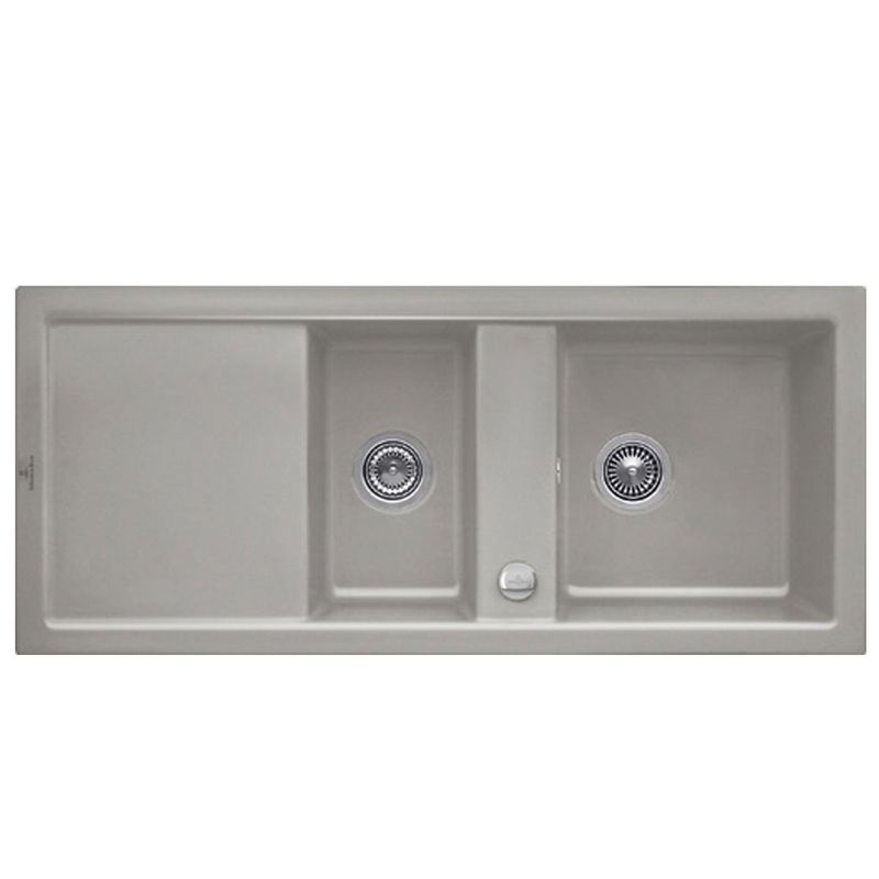Evier c ramique fossil villeroy boch subway 2 bacs 1 for Evier encastrable ceramique