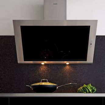 Hotte cuisine murale Silverline TOUNDRA verre noir et inox 90 cm