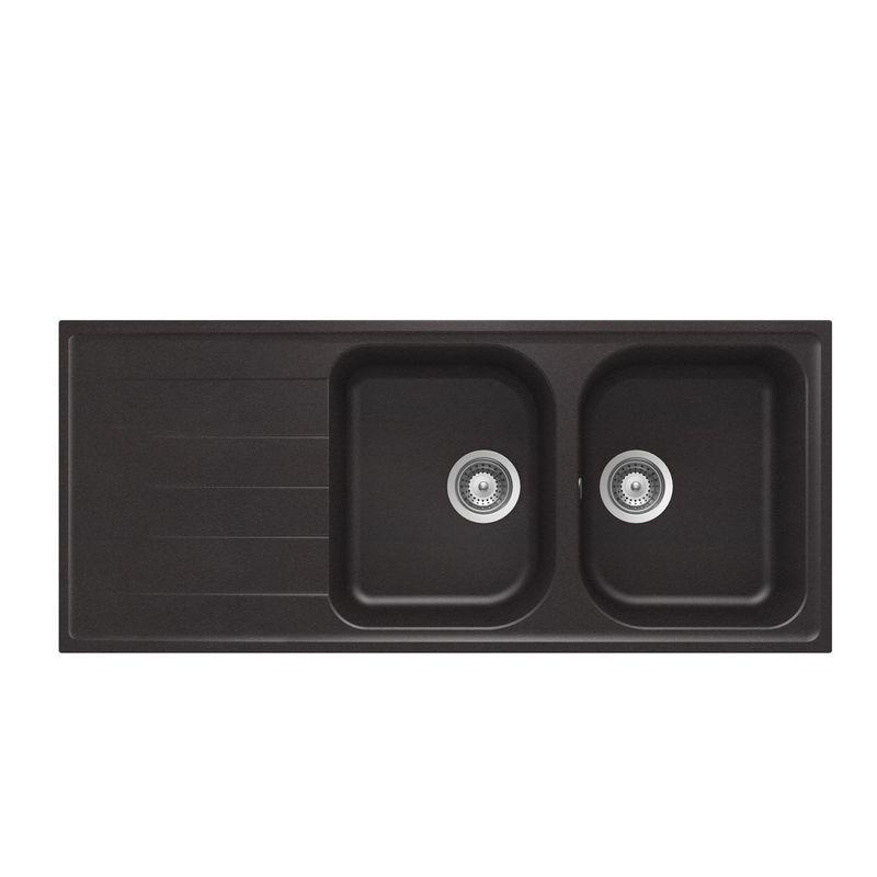 Lot schock evier granit noir 2 bacs viola mitigeur crbmd227 cuisissimo - Evier granit noir 2 bacs ...