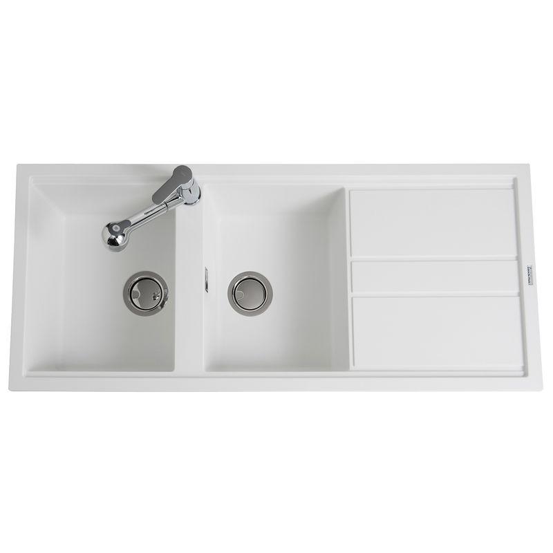 evier à encastrer best blanc 2 bacs 1 égouttoir - installez un évier