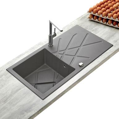 Evier Design en Granit Gris 1 BAC Kümbad CURUBA | Cuisissimo
