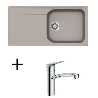 Lot Evier granit gris béton SCHOCK VIOLA 1 grand bac + Robinet HANSGROHE CRBMI190