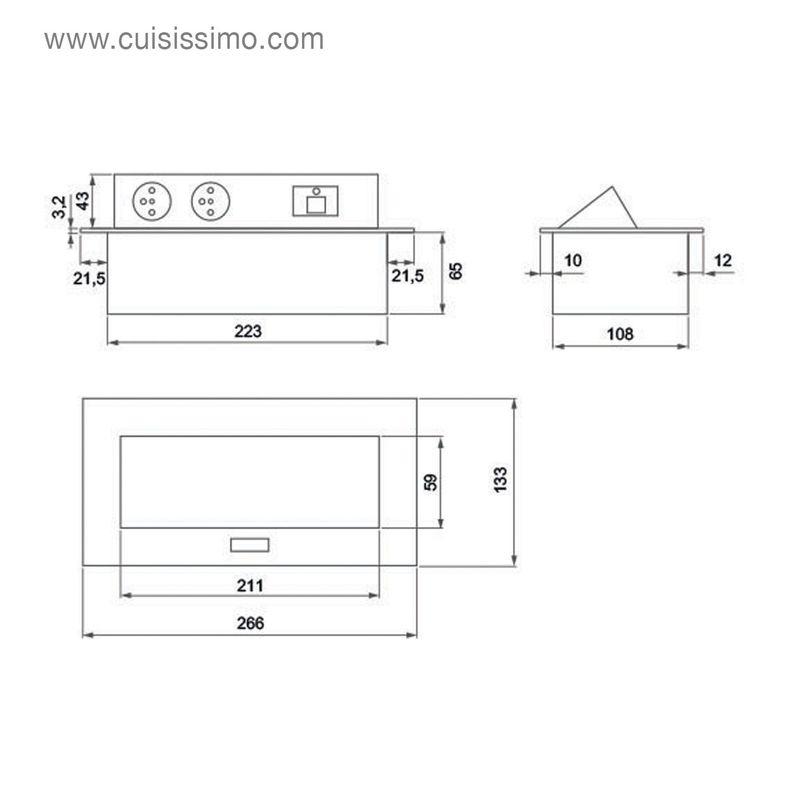bloc multiprise r tractable derby avec 2 ports usb et deux prises. Black Bedroom Furniture Sets. Home Design Ideas
