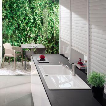 Evier céramique blanc Villeroy & Boch ARCHITECTURA 1 grand bac 1 égouttoir