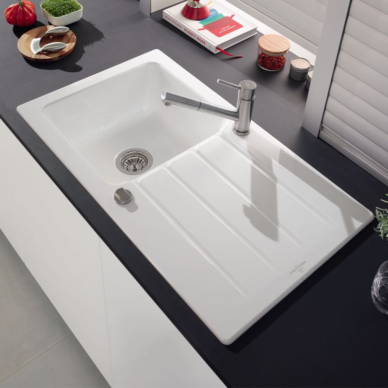 Evier villeroy boch en c ramique blanc architectura 1 for Evier double bac ceramique