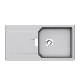 Évier granit gris clair  Schock MANHATTAN 1 grand bac 1 égouttoir