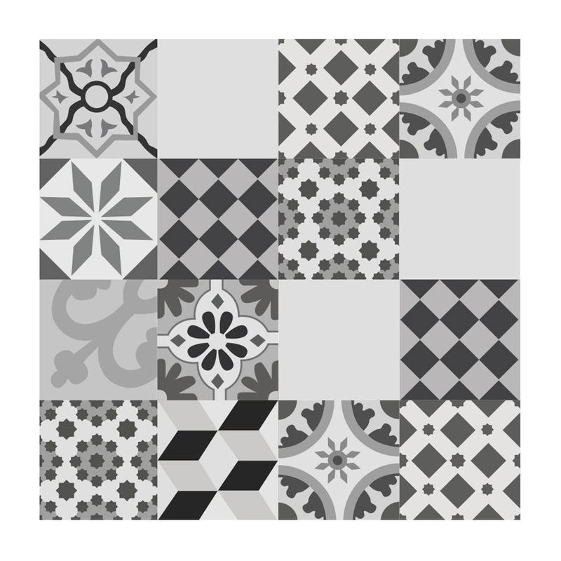 crédence décorée en aluminium carreaux de ciment cambo gris - fond