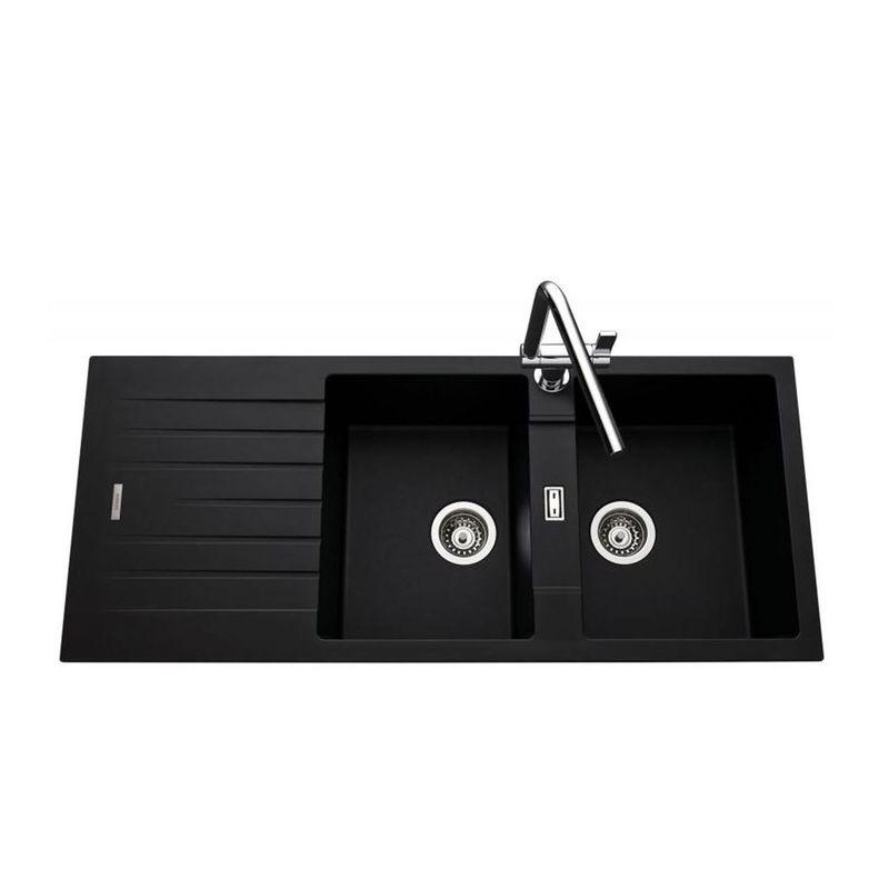 vier encastrer albey 2 bacs 1 gouttoir r versible en granit noir. Black Bedroom Furniture Sets. Home Design Ideas