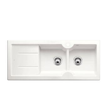 Evier céramique blanc brillant BLANCO IDESSA 8 S 2 bacs - égouttoir à gauche