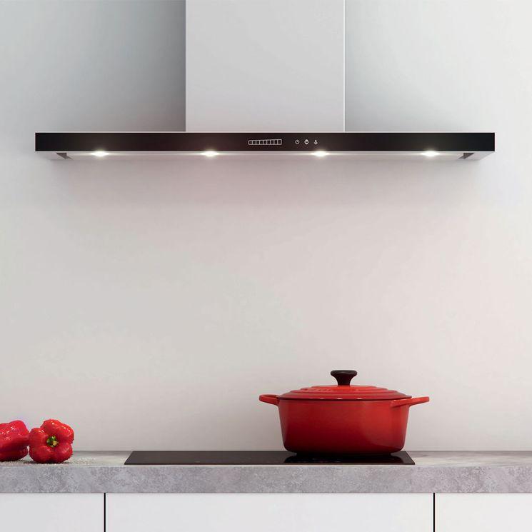Hotte cuisine murale Silverline TANO inox et verre noir 90 cm