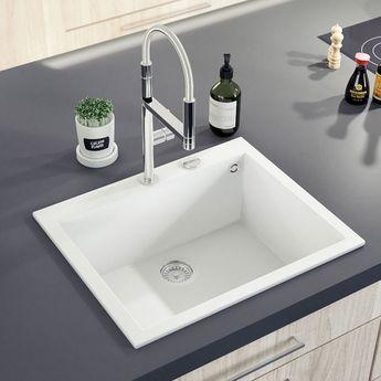 Évier Granit Blanc Ewi URBIA 1 Bac 610x500