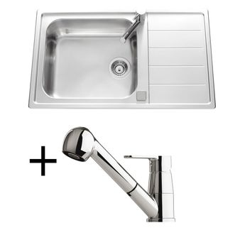 Lot Evier inox lisse 1 grand bac Apell TEAL  + Mitigeur CRBMD025