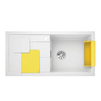 Evier granit blanc et jaune lemon BLANCO SITY XL 6 S égouttoir à gauche
