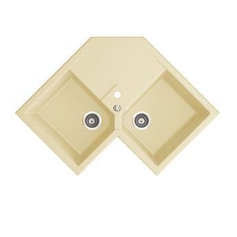 Evier d'angle granit beige Kümbad VOZ 2 bacs