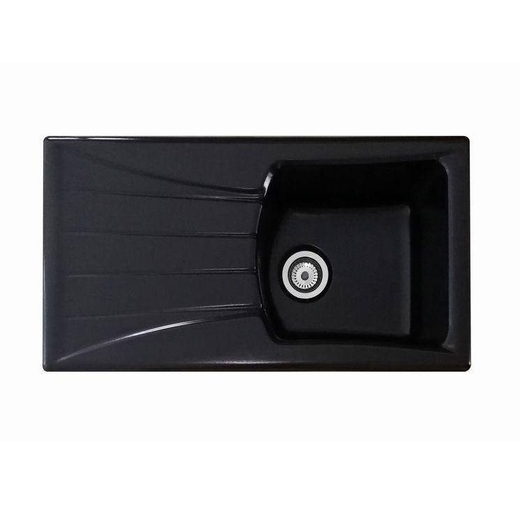 Evier céramique noir mat EWI LINA 1 bac 1 égouttoir