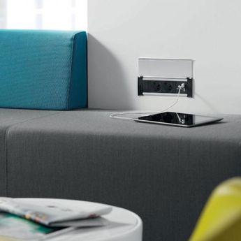 Prise de cuisine - Bloc CLAP 2 prises + 2 USB à encastrer blanc