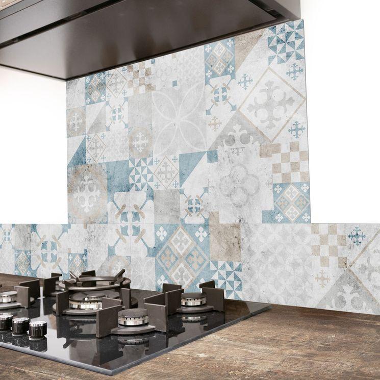 Crédence cuisine aluminium 99 Déco - Carreaux de Ciment PATTY Vintage