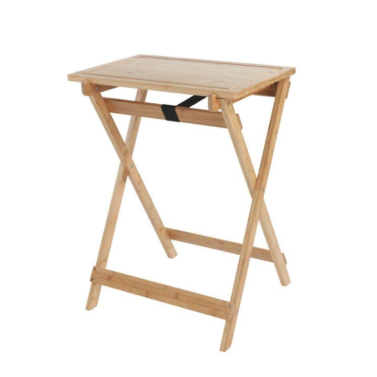 Table pliante avec planche à découper WENKO LUGO bois