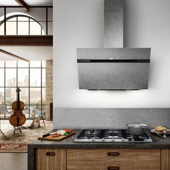 Hotte cuisine Elica murale STRIPE URBAN zinc 90 cm