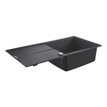 Évier GROHE K400 granit noir 1 grand bac 1 égouttoir