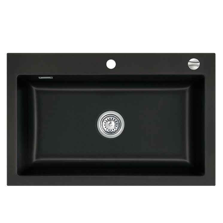 Évier céramique noir Systemceram MERA 1 bac 800x510 mm