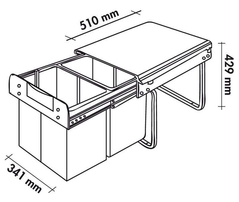 poubelle de cuisine encastrable 2x20 litres cacpo006. Black Bedroom Furniture Sets. Home Design Ideas