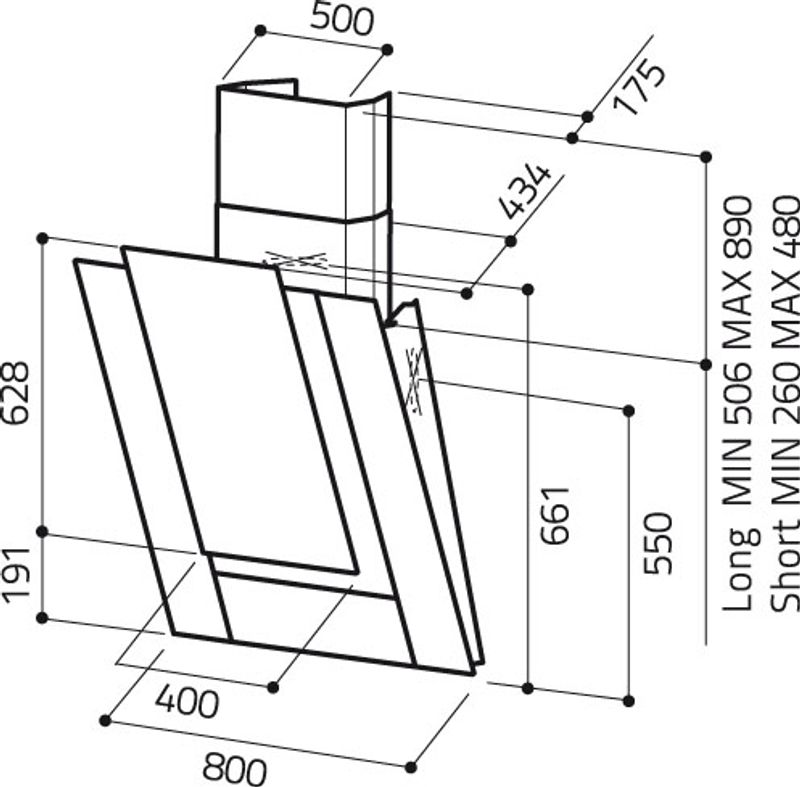 elica hotte de cuisine d corative ico verre noir 80 cm prf0010404a. Black Bedroom Furniture Sets. Home Design Ideas