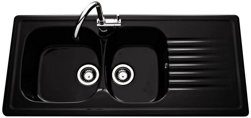 vier en c ramique noir brillant villeroy boch de la gamme targa 2 bacs 1 gouttoir. Black Bedroom Furniture Sets. Home Design Ideas