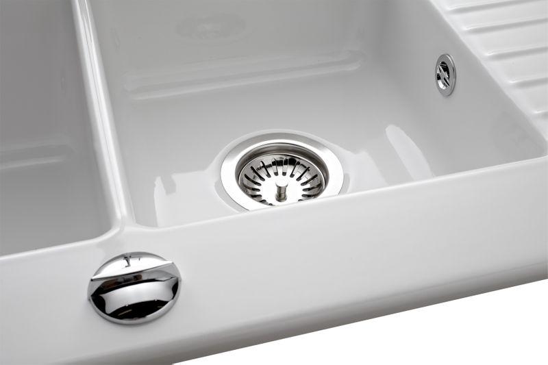 Évier en céramique blanc tinae 2 bacs 1 égouttoir - Évier réversible