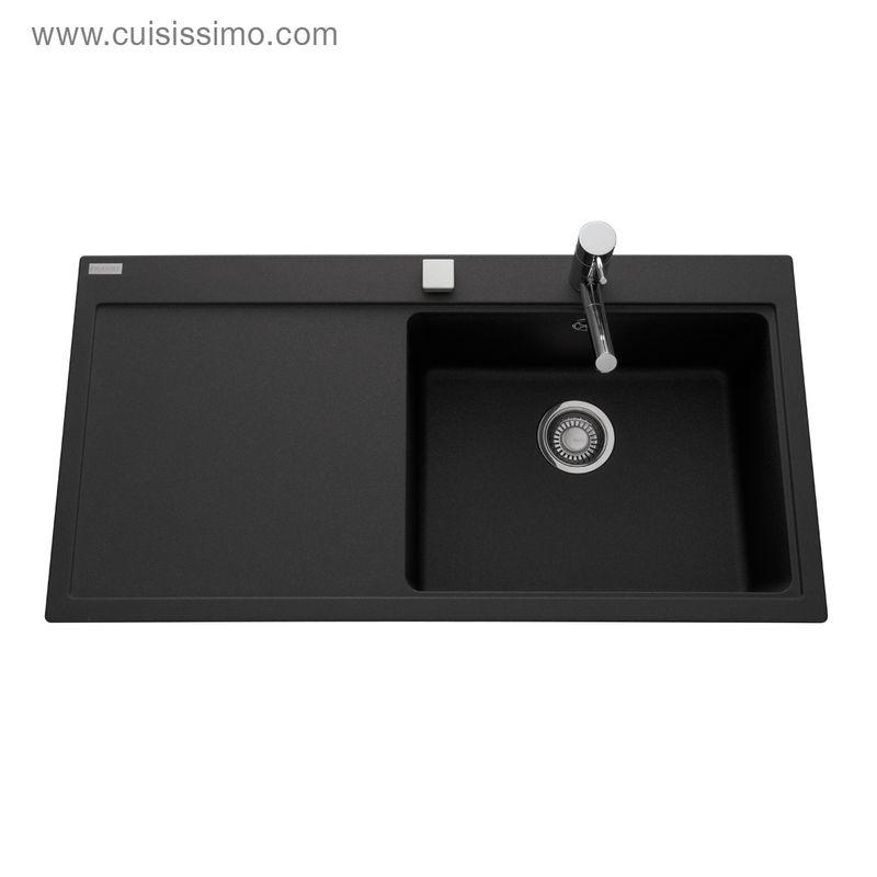 Evier granit franke mythos noir 1 grand bac 1 gouttoir gauche cuisissimo - Evier noir 1 bac ...