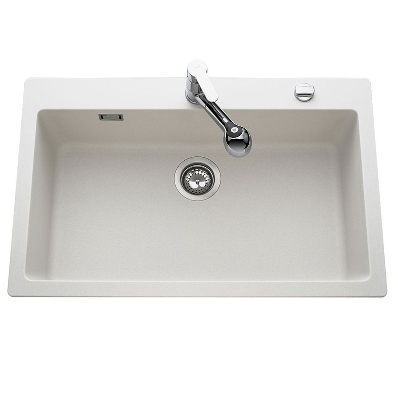 Vier granit blanc lokti 1 bac 790x500 cuisissimo for Evier 1 bac dimension