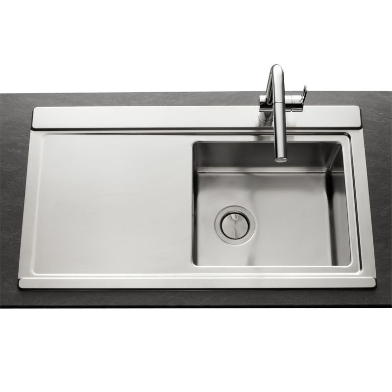 Vier en inox lisse 1 bac apell osiris gouttoir for Table inox avec evier