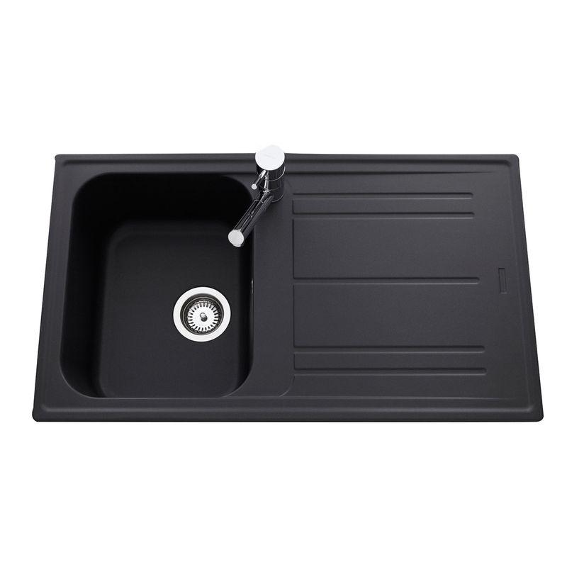 Kit cuisine design vier 1 bac en granit noir holyday et for Evier cuisine noir 1 bac