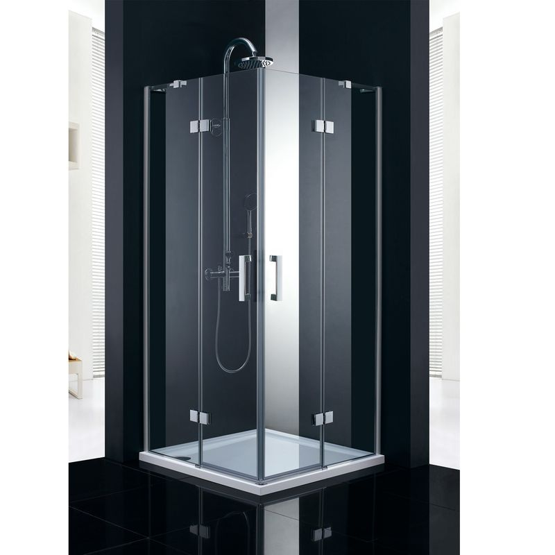 Paroi de douche d angle marmara pour la salle de bains 2 portes pivotantes en verre 8 mm 90x90 cm for Portes de douche en verre